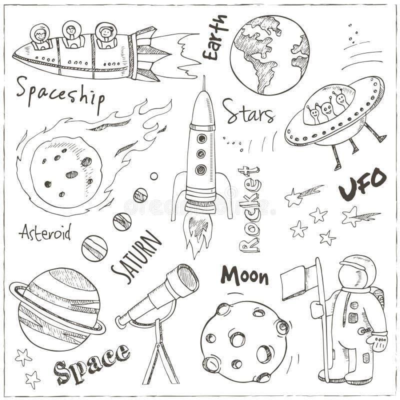 Griffonnages tirés par la main de l'espace Étoiles, planète et transport de l'espace illustration stock