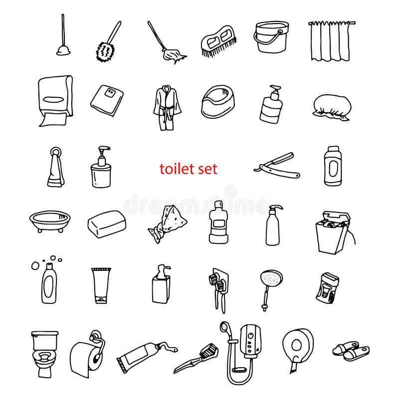 Griffonnages tirés par la main de vecteur d'illustration des objets dans l'ensemble de toilette illustration libre de droits