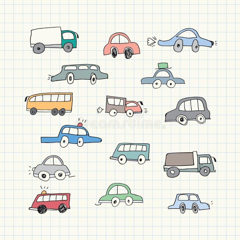 Griffonnages tirés par la main de voiture Illustration de vecteur illustration stock