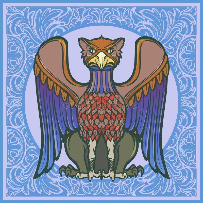 Grifo decorativo Arte gótico medieval del concepto del estilo Elemento del diseño Fondo floral decorativo ilustración del vector