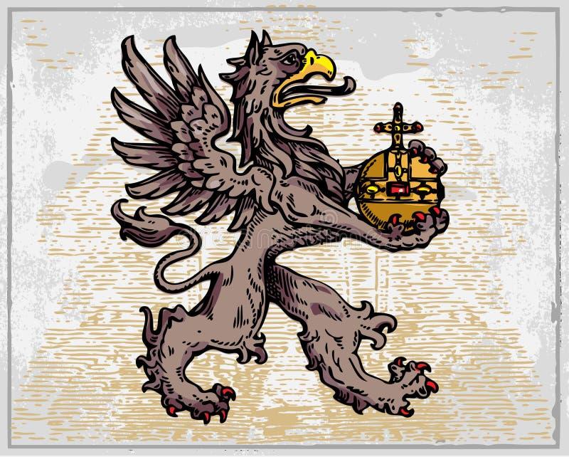 Grifo heráldico ilustração stock
