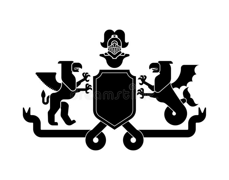 Grifo heráldico do grifo e do mar do protetor e cavaleiro Helmet Fanta ilustração royalty free