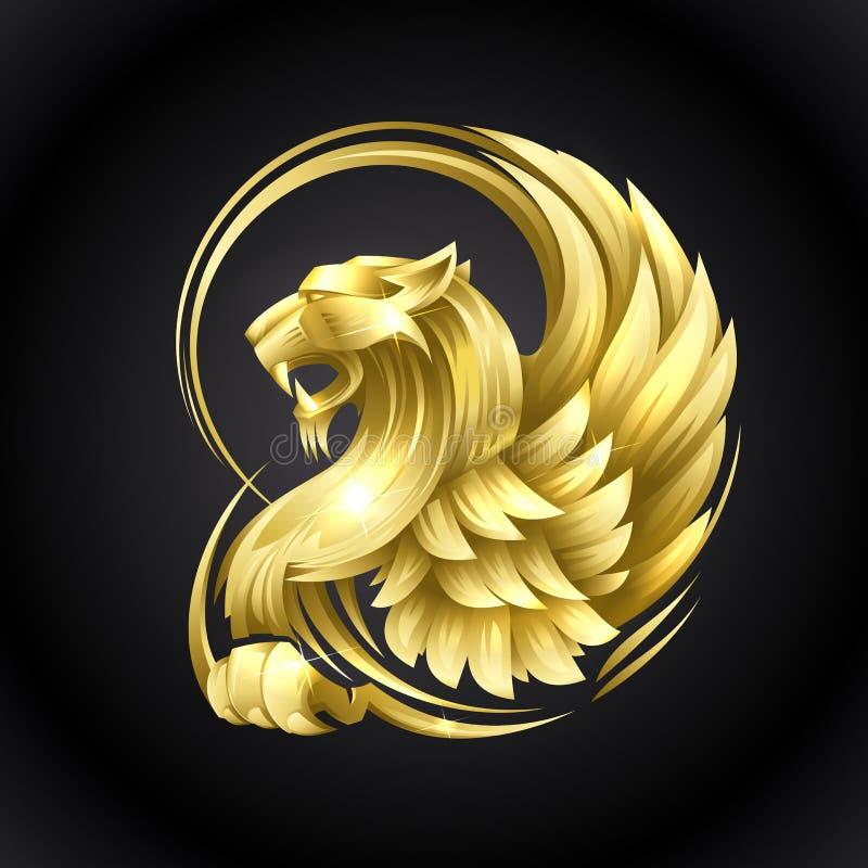 Grifo heráldico dourado ilustração do vetor