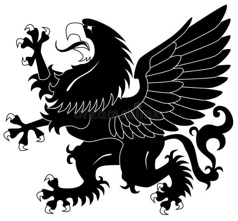Grifo heráldico ereto ilustração stock