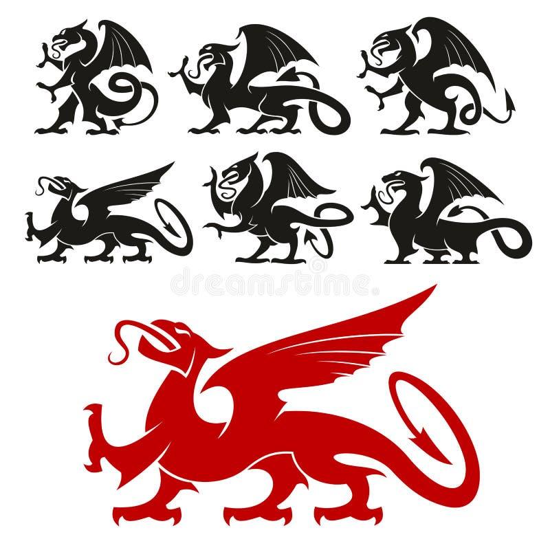 Grifo heráldico y siluetas míticas del dragón stock de ilustración