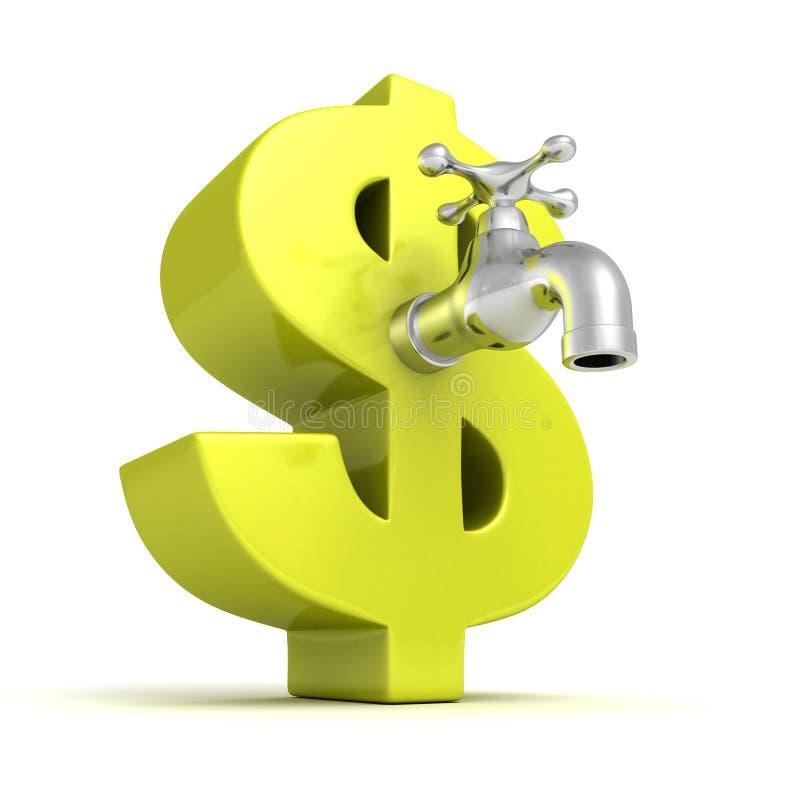 grifo metálico del golpecito de agua del símbolo verde del dólar ilustración del vector