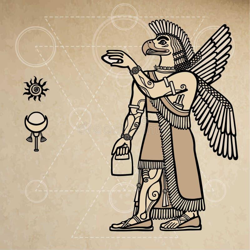 Grifone Assyrian fantastico: la persona - un uccello illustrazione vettoriale