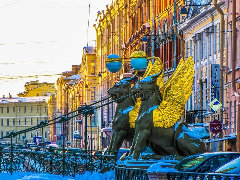 Grifoni sul ponte della Banca davanti all'università di Stato di San Pietroburgo fotografie stock libere da diritti