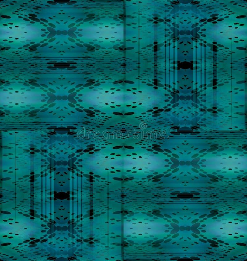 Grigio verde blu e nero degli ellissi del turchese complesso regolare del modello spostati illustrazione vettoriale