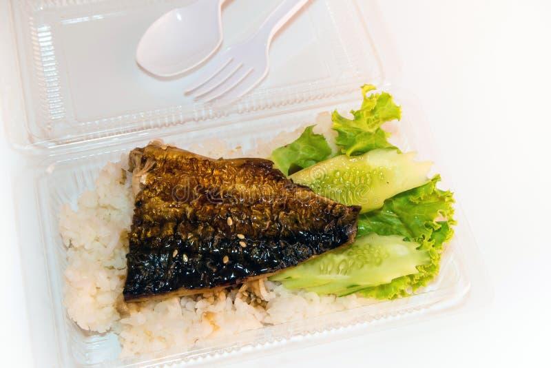 Grigli il pesce su riso in scatola di plastica, alimento netto fotografie stock libere da diritti