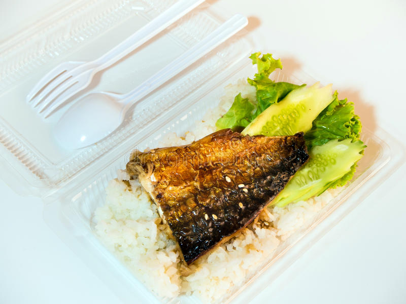 Grigli il pesce su riso in scatola di plastica, alimento netto fotografie stock