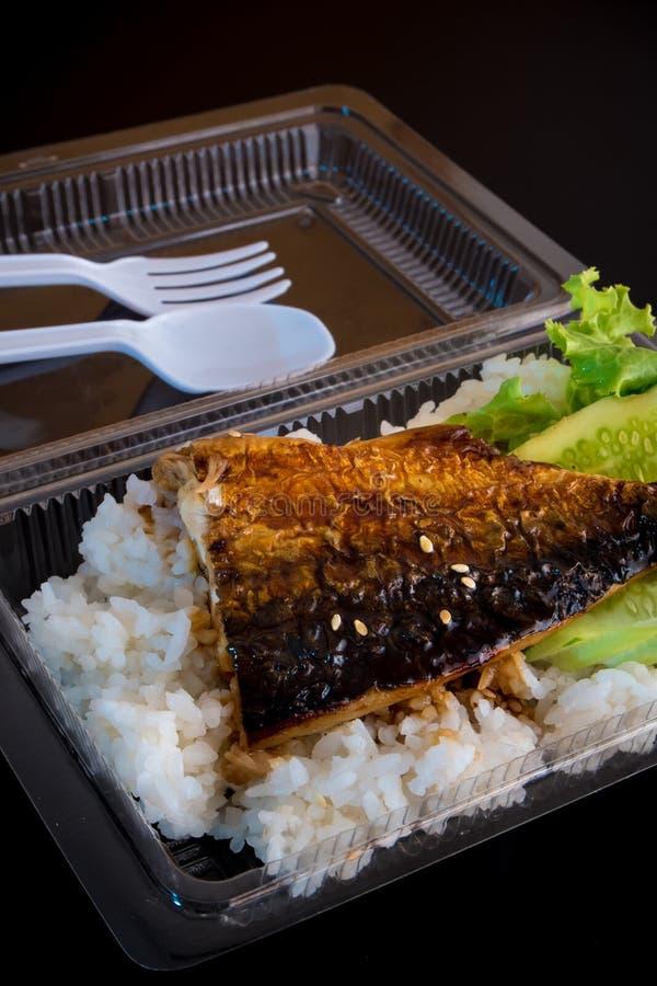 Grigli il pesce su riso in scatola di plastica, alimento netto fotografia stock