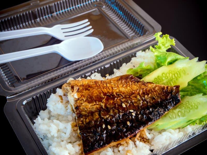 Grigli il pesce su riso in scatola di plastica, alimento netto immagine stock libera da diritti