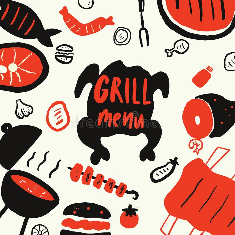 Grigli meny Elementi disegnati a mano divertenti per la griglia, barbecue, ristorante della bistecca Isolato su fondo bianco, royalty illustrazione gratis