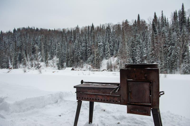 Griglia arrugginita del metallo nella foresta di inverno immagini stock