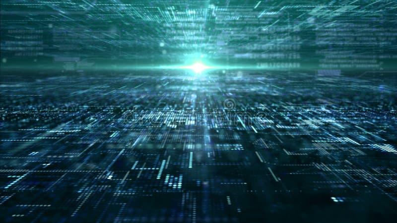 Griglia astratta futuristica delle particelle della matrice di Digital illustrazione di stock