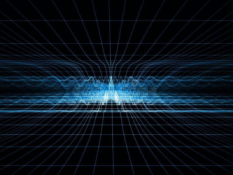 Griglia blu di onda d'urto illustrazione di stock