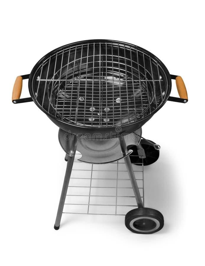 Griglia del barbecue del bollitore con la copertura isolata su bianco fotografie stock libere da diritti
