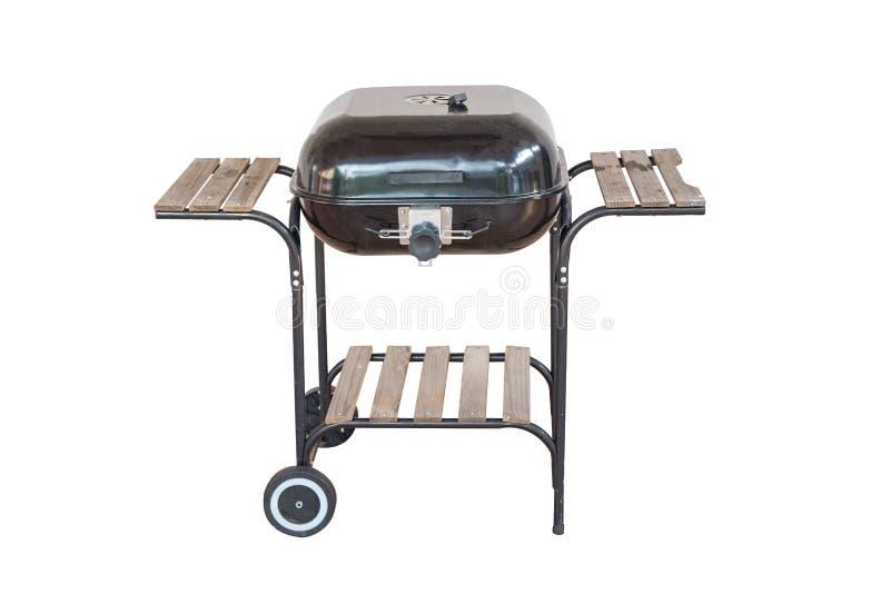 Griglia del barbecue del bollitore con la copertura isolata su bianco fotografia stock