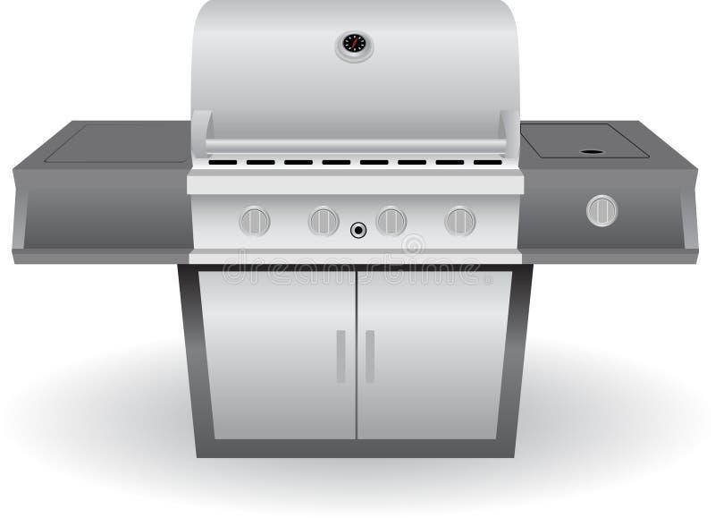 Griglia del barbecue dell'acciaio inossidabile (BBQ) illustrazione di stock