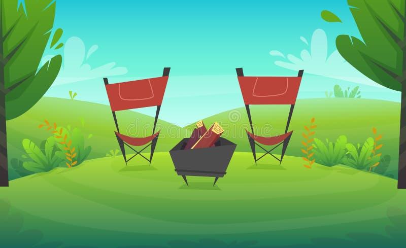 Griglia del barbecue dell'erba verde agli alberi forestali o del parco ed al fondo di paesaggio dei fiori dei cespugli, illust di illustrazione di stock