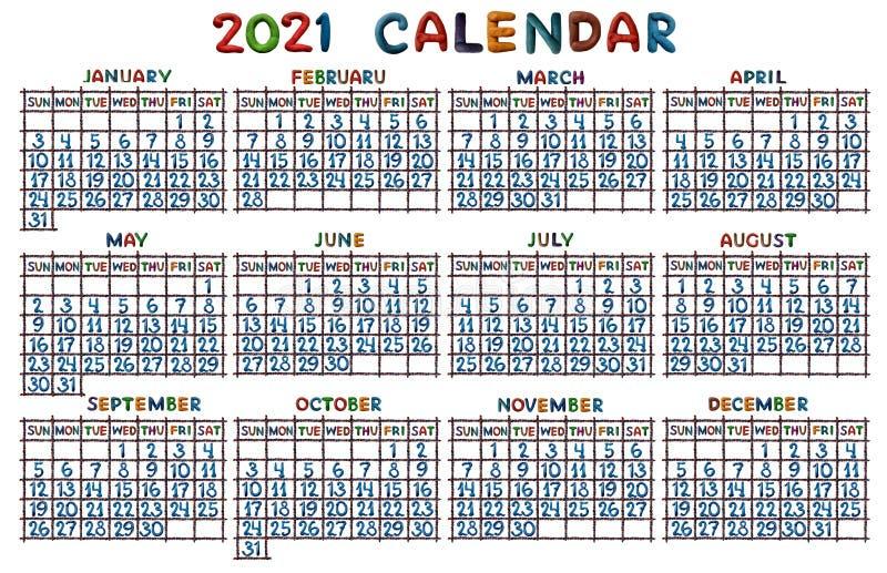 Griglia del calendario per 2021, modellata da plasticine illustrazione vettoriale