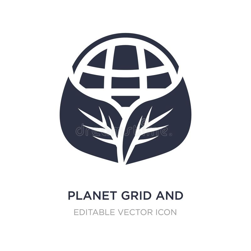 griglia del pianeta e un'icona della foglia su fondo bianco Illustrazione semplice dell'elemento dal concetto dei segni illustrazione di stock