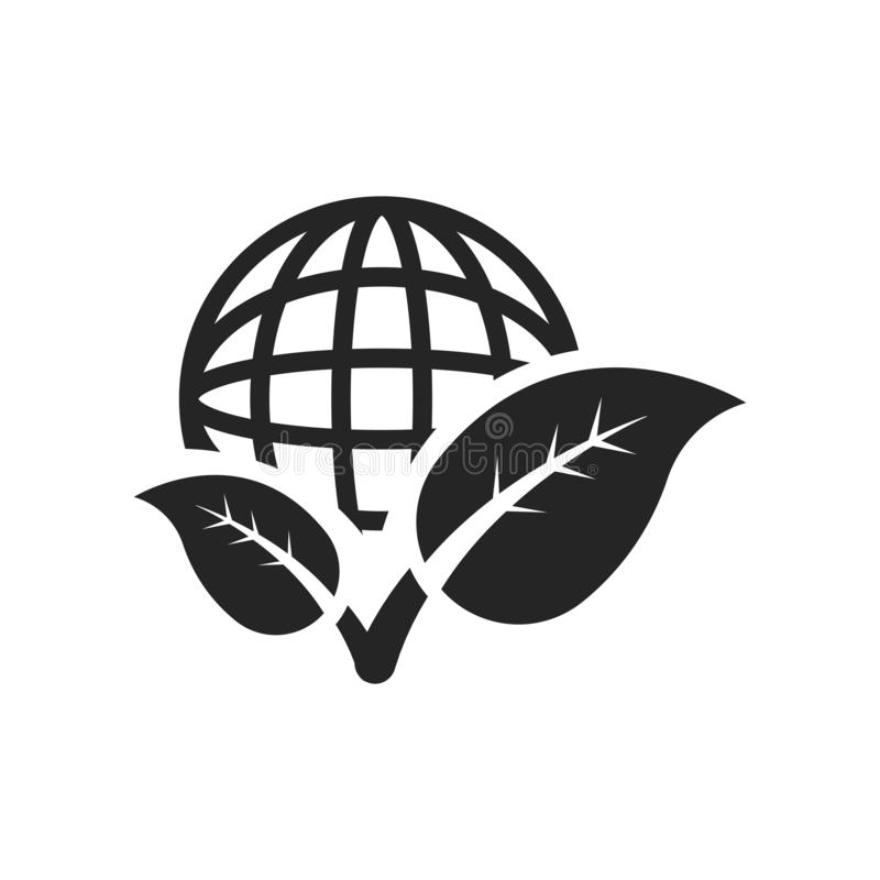 Griglia del pianeta e un segno e un simbolo di vettore dell'icona della foglia isolati su w royalty illustrazione gratis