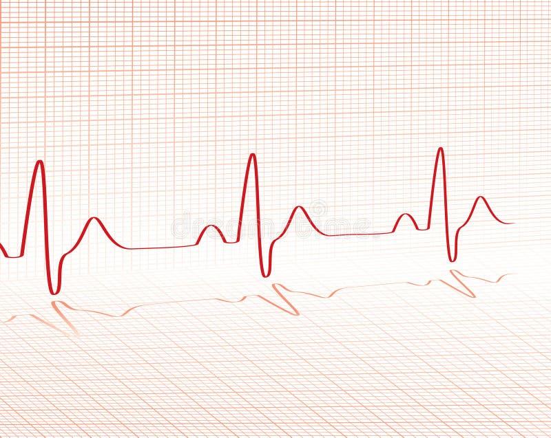 Griglia di colore rosso di battimento di cuore illustrazione di stock