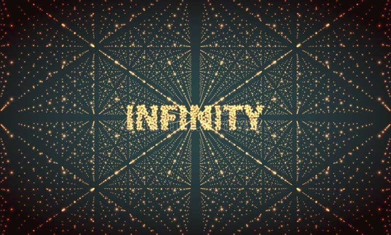 Griglia di prospettiva di Digital con le stelle d'ardore Illusione futuristica di infinito di profondità Priorità bassa astratta  illustrazione vettoriale