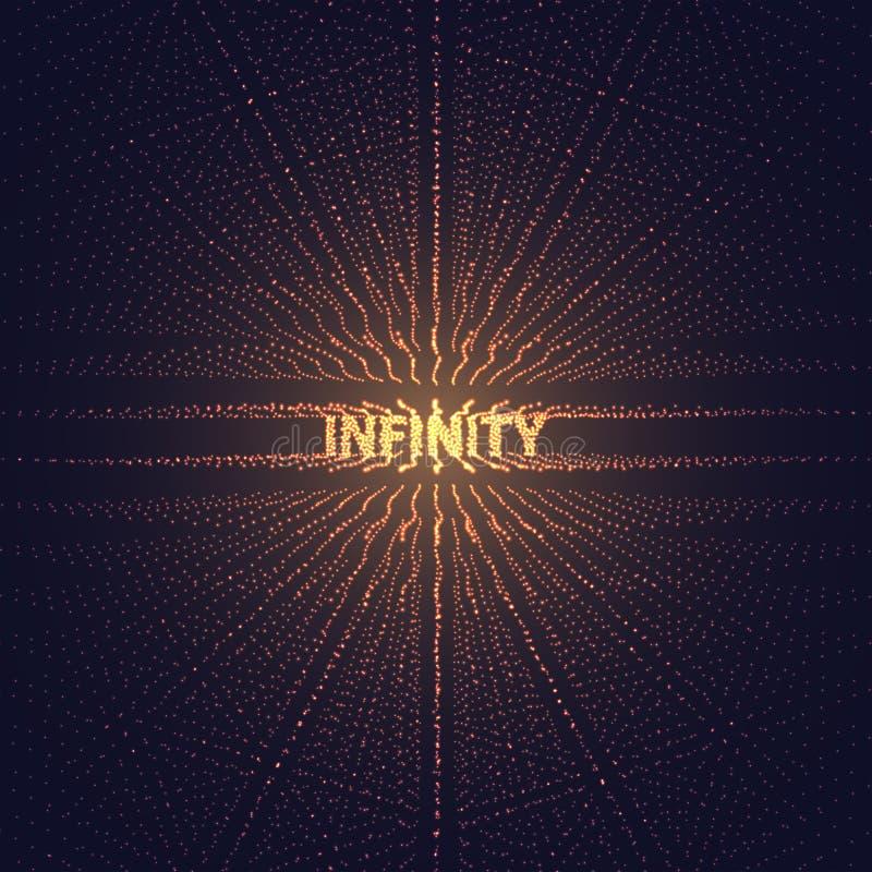 Griglia di prospettiva di Digital con le stelle d'ardore Illusione futuristica di infinito di profondità Priorità bassa astratta  royalty illustrazione gratis