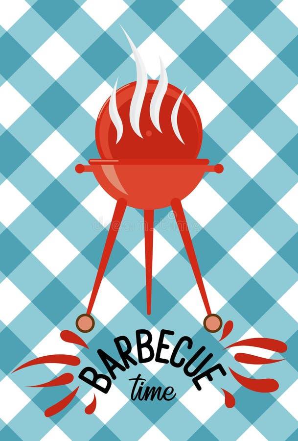 Griglia di tempo del barbecue sopra il fondo della tovaglia Progettazione piana variopinta Illustrazione Iscrizione del logo con  illustrazione vettoriale