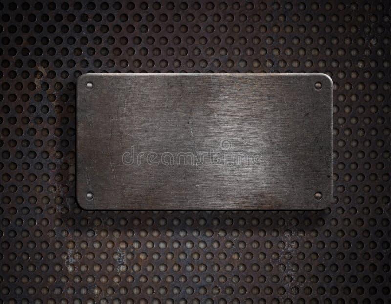 Griglia eccessiva di piastra metallica arrugginita di Grunge fotografie stock libere da diritti