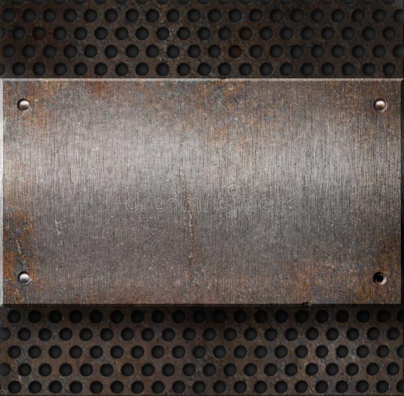 Griglia eccessiva di piastra metallica arrugginita di Grunge fotografia stock libera da diritti