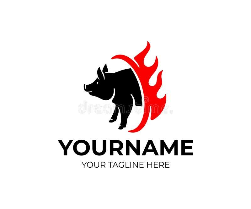 Griglia ed alimenti a rapida preparazione, maiale e fuoco, progettazione di logo Animale ed animale domestico, carne, pasto e ris illustrazione di stock