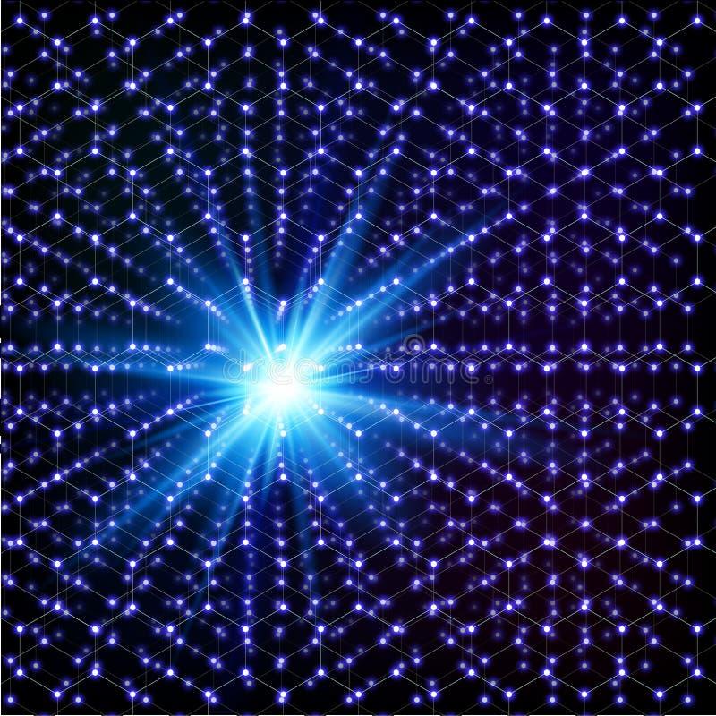 Griglia esagonale molecolare brillante cosmica blu di vettore illustrazione di stock