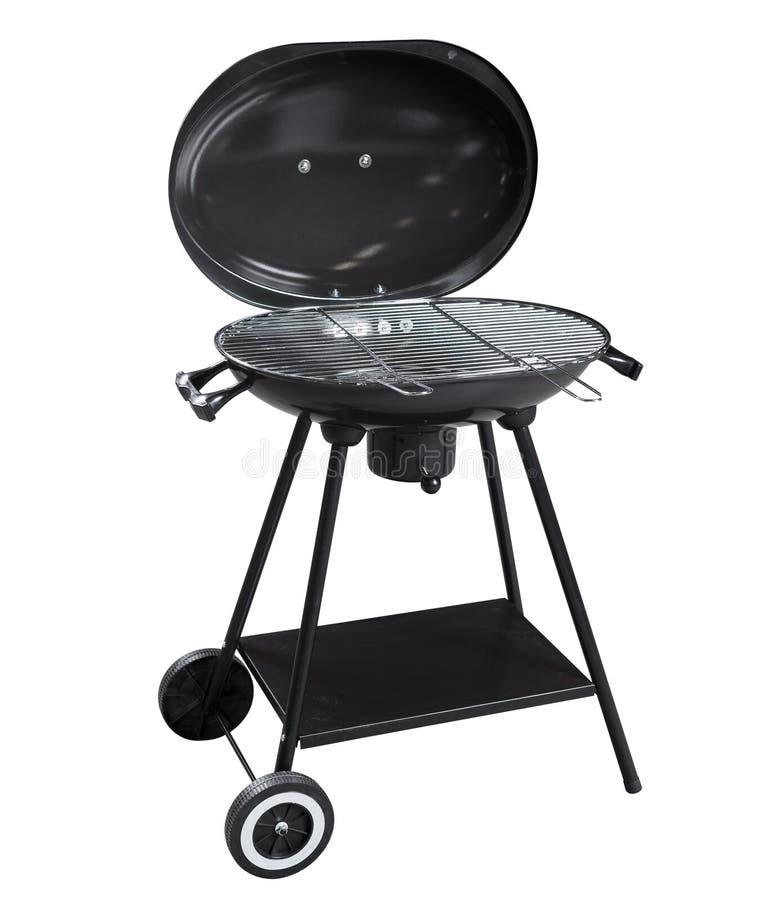 Griglia nera del barbecue su bianco con il percorso di ritaglio fotografia stock libera da diritti