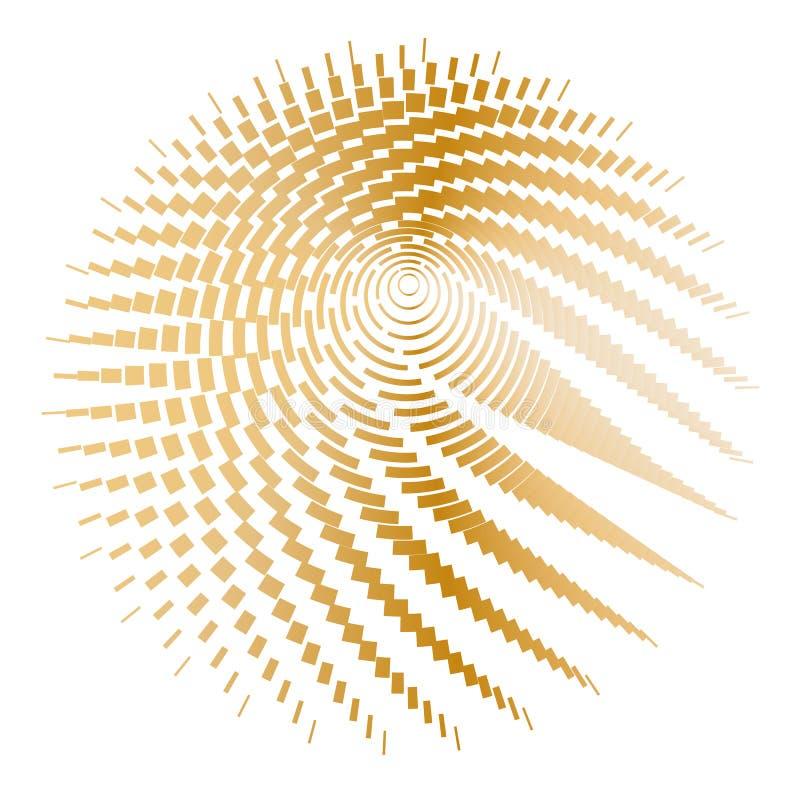 Griglia rotonda del wireframe delle linee e delle bande dell'oro su un giro grafico del fondo del poligono del cerchio del modell royalty illustrazione gratis