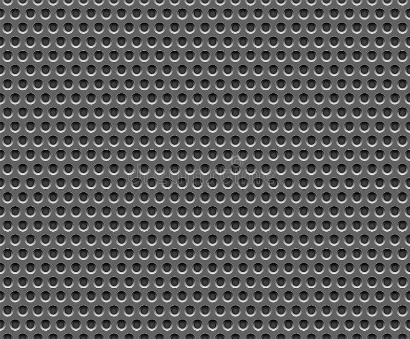 Griglia scura di acciaio inossidabile di tecnologia della fabbrica con i fori rotondi ripetitivi Modello senza cuciture, fondo El royalty illustrazione gratis