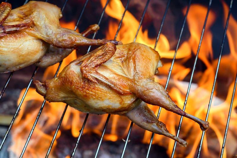 Grigliare le quaglie del pollame in un ristorante fotografia stock libera da diritti