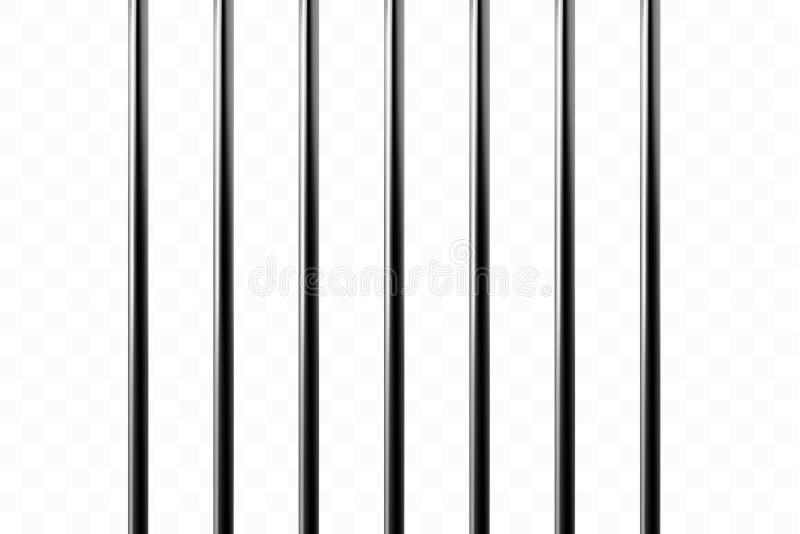 Griglie realistiche della prigione del metallo isolato su un fondo trasparente Macchina di Thuster, cella di prigione del ferro p illustrazione di stock