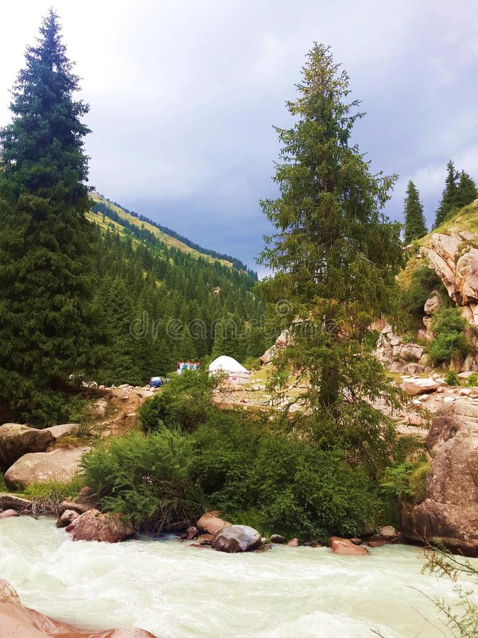 The Grigoriev gorge, the valley of the river Chon-Aksu. Kyrgyzstan. royalty free stock image