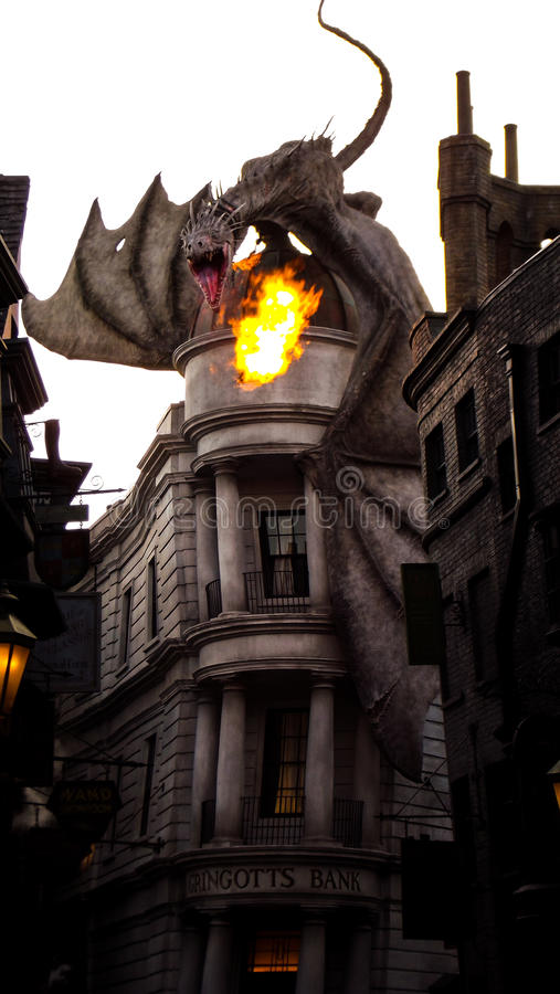 The Grigotts Dragon Harry Potter @ Universal royalty free stock image