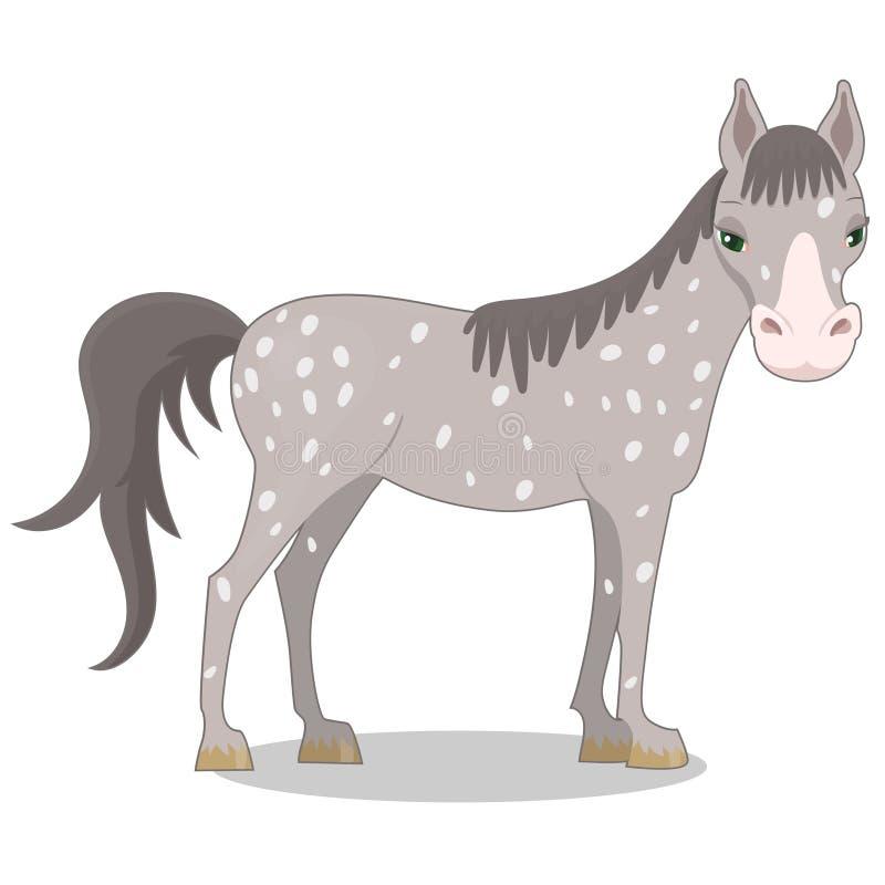 Grijs bevlekt paard De stijl van het beeldverhaal Vector illustratie die op witte achtergrond wordt ge?soleerdd stock illustratie