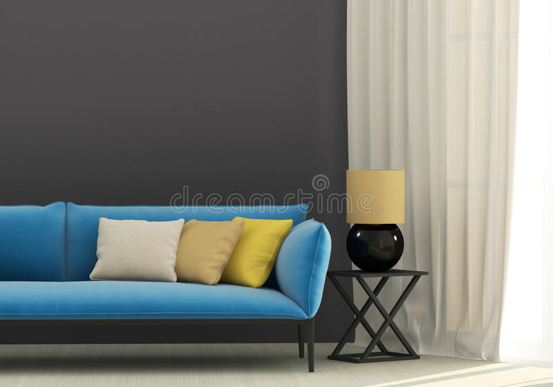 Grijs binnenland met blauwe bank stock afbeelding