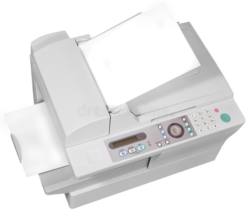 Grijs bureau multifunctioneel apparaat royalty-vrije stock afbeelding