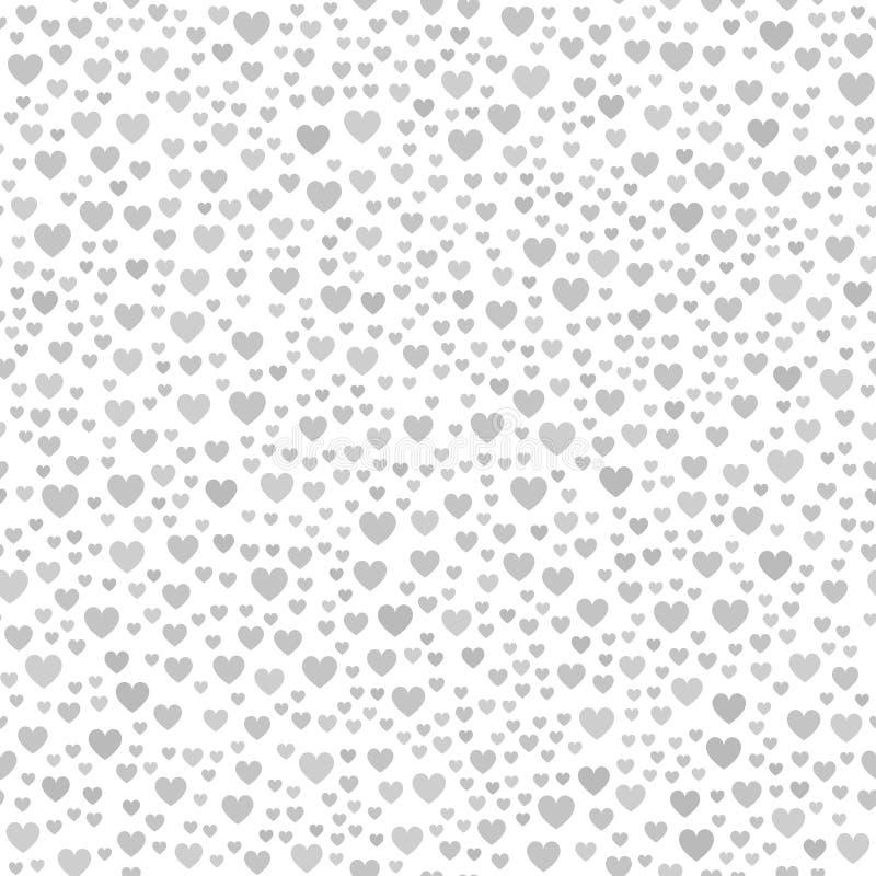 Grijs chaotisch hartpatroon Naadloze vectorachtergrond vector illustratie
