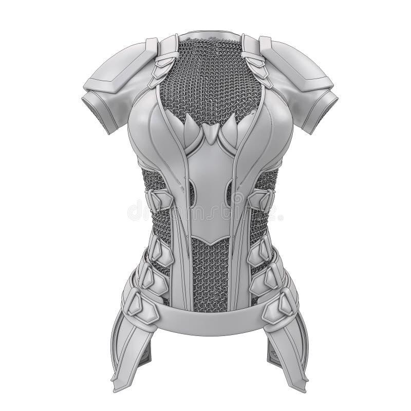 Grijs die pantser voor beeldverhaalstijl wordt gestileerd op geïsoleerde witte achtergrond 3D Illustratie royalty-vrije illustratie