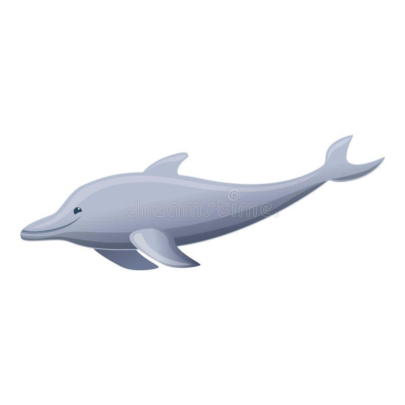 Grijs dolfijnpictogram, beeldverhaalstijl vector illustratie