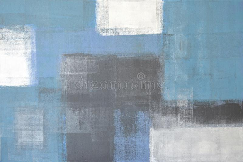 Grijs en Blauw Abstract Art Painting stock afbeelding